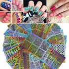24pcs Nail Art Hollow Laser Template Stencil Stickers Vinyl Image Guide Manicure