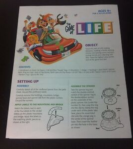 Details About The Game Of Life Replacement Instructions Manual Rules Set Up 2007