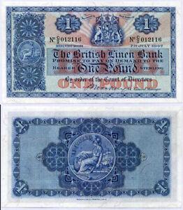 SCOTLAND 1 POUND 1947 P 157 BRITISH LINEN BANK AUNC ABOUT UNC
