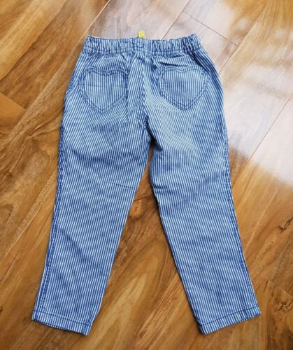 MINI BODEN GIRLS COTTON NAVY STRIPE HEART PATCH PULL ON PANTS G0446 BRAND NEW