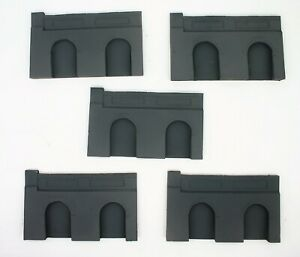 5 X Detailed Model Railway Retaining Wall With Aches For Ho / Oo New 01