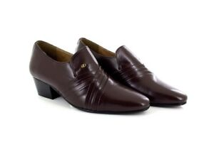 ac9f490d968 Mens Lucini Brown Leather Smart Formal Slip On Cuban Heel Shoes ...