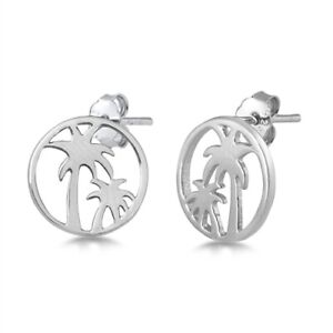 Palm Tree Stud Post Earrings Round 925 Sterling Silver Tropical