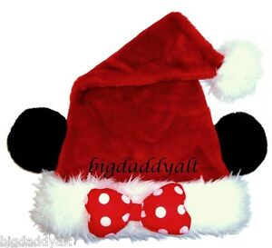 e691264a08ab3 NEW DISNEY WORLD MICKEY MOUSE EARS MINNIE CHRISTMAS SANTA HAT ADULT ...
