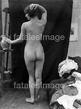 Atelier Akt - 1910 - Foto vom Original Vintage Glasplattennegativ
