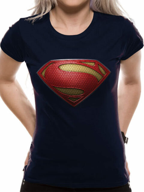 6b445cc5c Official Superman Man of Steel Textured Logo T-Shirt Ladies Fitted Blue