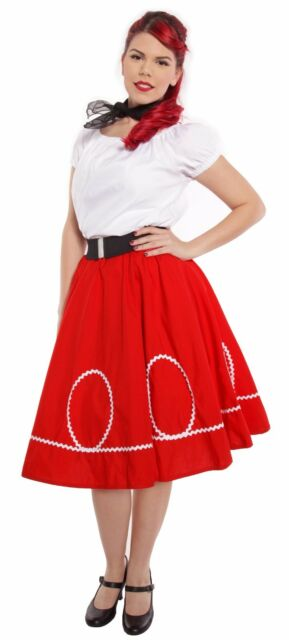 Red & White Circle Swing Skirt - Retro Ric Rac Trim - Sock Hop Twirl - S to XL