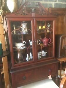 Image Is Loading Antique Victorian Style China Cabinet With Filigree And