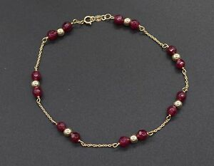 NEW-14K-Solid-Yellow-Gold-Natural-Ruby-Round-Bead-Bracelet