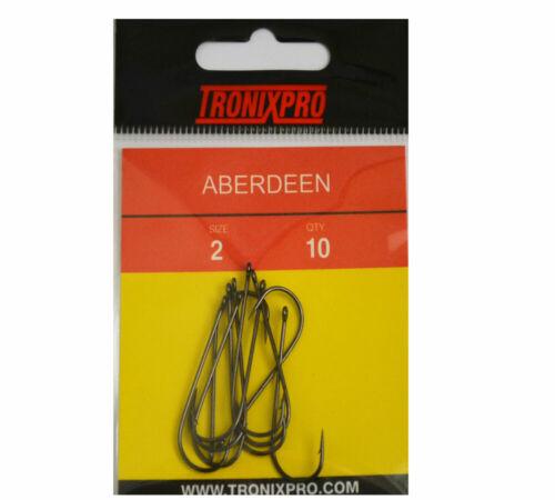 Tronixpro Aberdeen Hooks Sea Fishing Bait Hooks 1//0 to 6//0 All Sizes