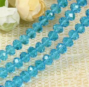 DIY-Jewelry-Faceted-30pcs-5040-6x8mm-Rondelle-Glass-Crystal-Beads-Sky-Blue