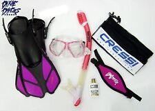 Womens Adult Snorkel Set Mask Dry Snorkel Cressi Fins Snorkeling Pink Size Large