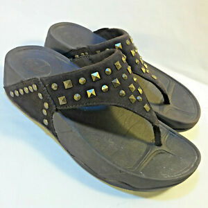 Brown-Leather-amp-Brass-Studs-FITFLOP-065-030-034-CARMEL-034-Sandals-Thongs-US-5-EU-36