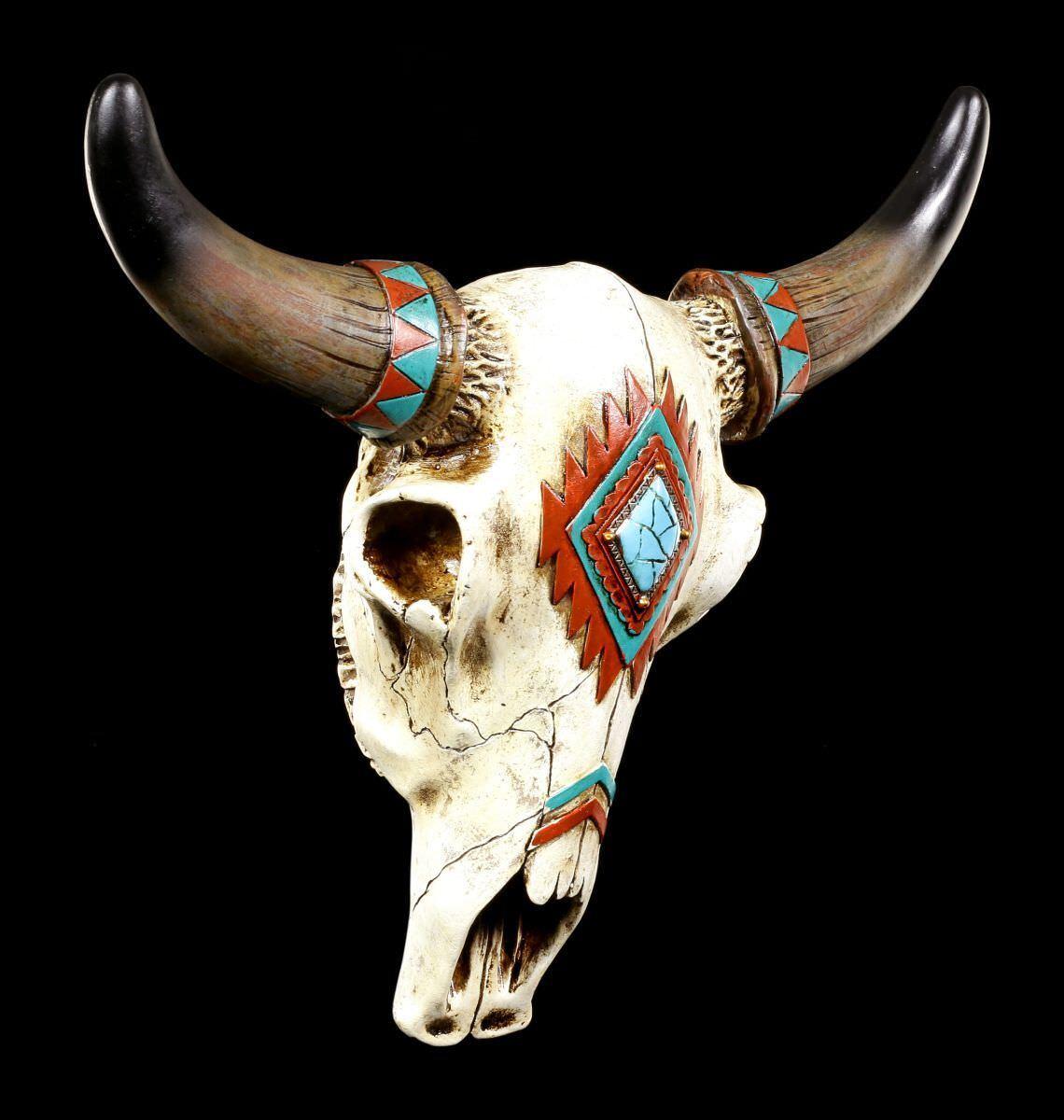 Wandrelief - Rinderschädel mit Indianerbemalung - Western Deko Bullenschädel    Düsseldorf Online Shop