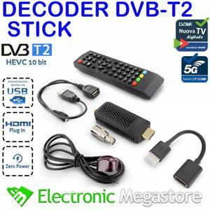 Decoder Digitale Terrestre Dvb-T2 HD HDMI Hevc H265 10 bit Mini Stick Ricevitore