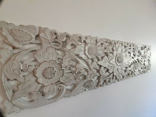 Whitewash wood carved wall art coastal hamptons tropical beach home decor