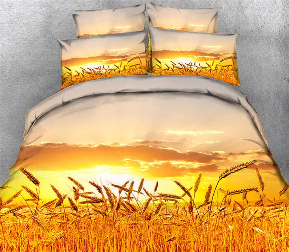 Golden Fairy Wheat 3D Printing Duvet Quilt Doona Covers Pillow Case Bedding Sets