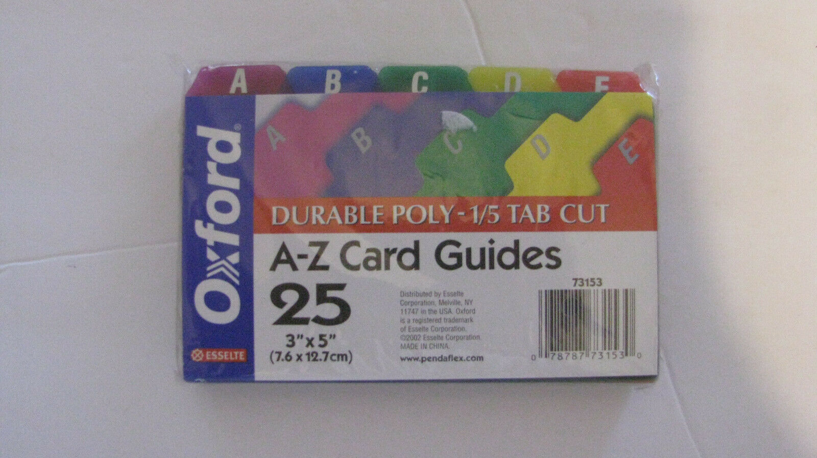 5 for sale online Esselte Ess-73153 A-z Durable 1//5 Cut Tab Poly Card Guide