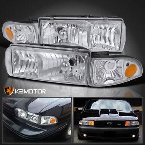91 96 Chevy Caprice 94 96 Impala Chrome Headlights Clear