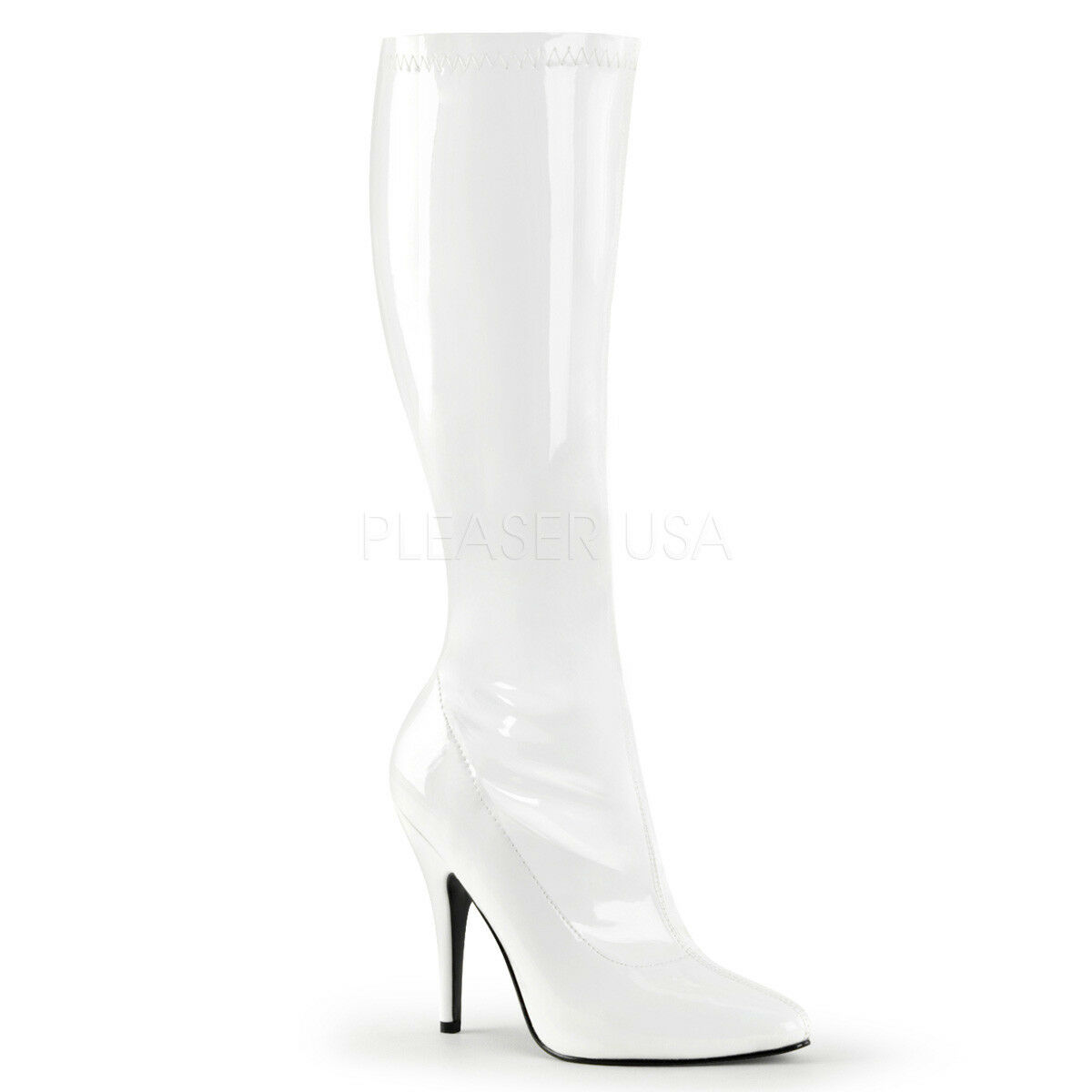 marca Pleaser SEDUCE-2000 Donna  bianca Patent Heels Plain Stretch Side Side Side Zip Knee avvio  miglior prezzo migliore