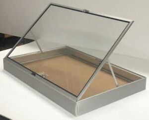 Portable Aluminum Glass Jewelry Display Case Silver ...