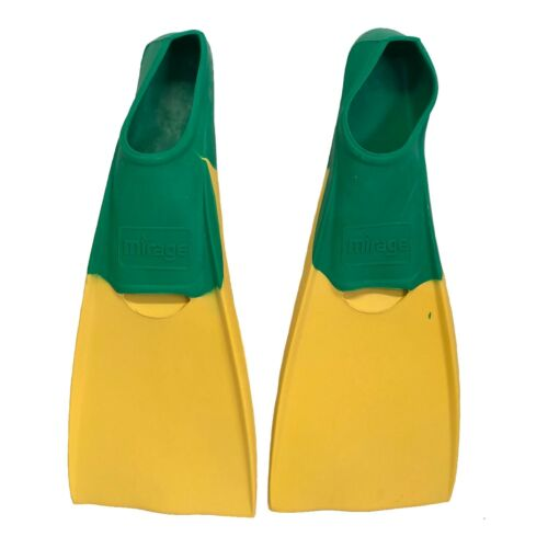 Mirage Rubber Deluxe Fins Flippers Adult-GREEN YELLOW M = 7-9