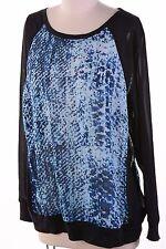 $69 DKNY Jeans Women's Print Heavy Chiffon Long Sleeve Top Evening Blue M