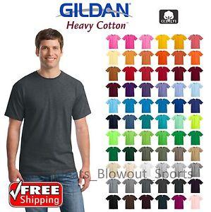 Gildan-Heavy-Cotton-T-Shirts-5-3oz-Blank-Solid-Mens-Short-Sleeve-Tee-S-XL-5000