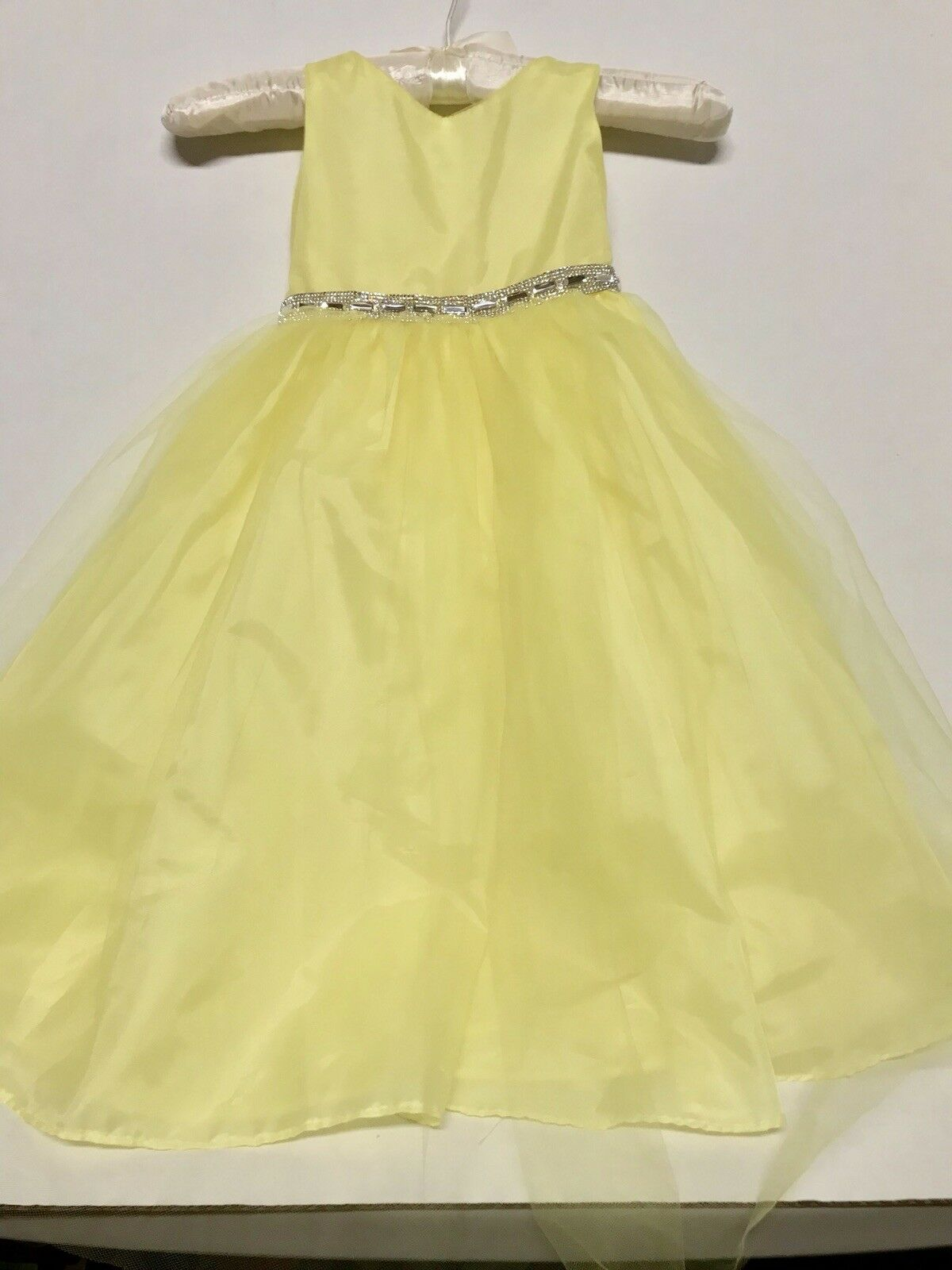 Girls Dress Flower Girl Wedding Sophia Young Design Limited Size 4 Yellow Silver