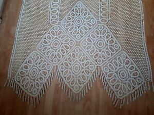 "Vintage Antique Handmade French Edwardian Lace Curtain Cream Ecru 86.5""x46"" Antiques Other Antique Lace & Crochet"