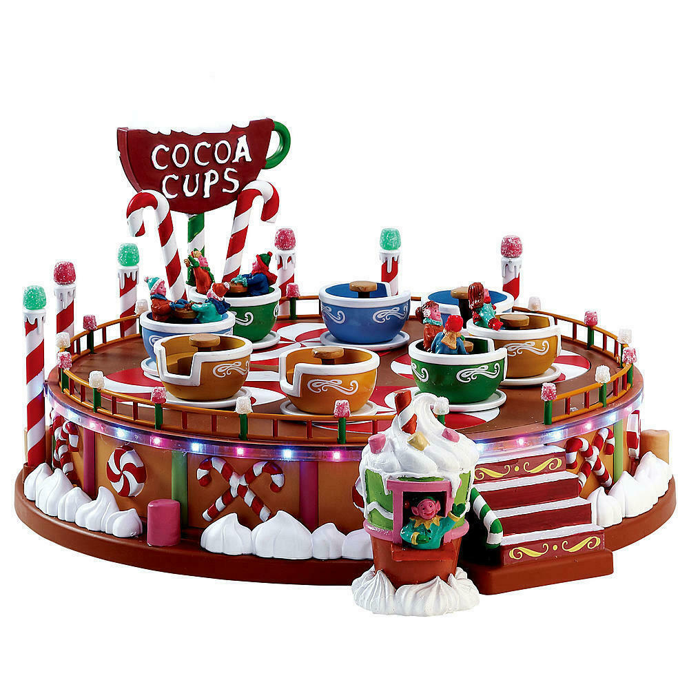TRAIN HOUSE VILLAGE   CARNIVAL ANIMATED COCOA CUPS RIDE   + DEPT 56 LEMAX info