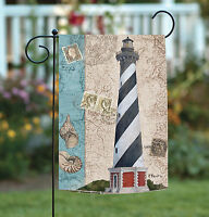 Toland - Harbor Point Lighthouse - Vintage Coastal Seashell Garden Flag