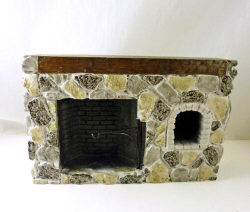 YM0244ST Dollhouse Miniature Walk-in Colonial Fieldstone Fireplace