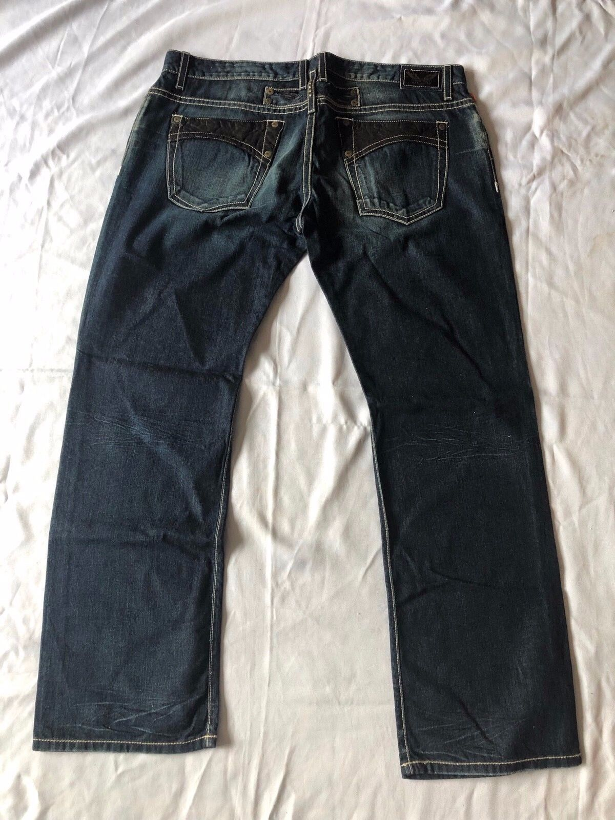 New Men's ROBIN'S JEAN Sz 42 LEATHER  Fitted Boot Leg Jeans