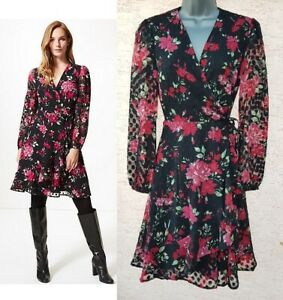 Ladies-M-amp-S-Wrap-Dress-Spot-Floral-Print-Chiffon-Shift-Vintage-Party-Size-6-24