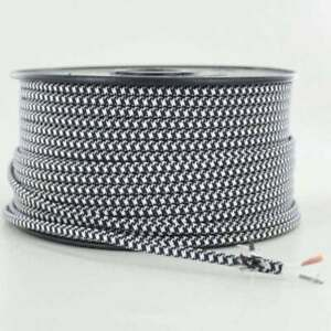 BLACK-amp-WHITE-2-WIRE-Parallel-Antique-Style-Fabric-Lamp-Wire-Price-Per-Foot