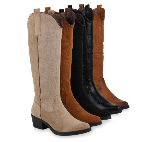 Damen Cowboystiefel Gefütterte Stiefel Western Boots 831780 Schuhe