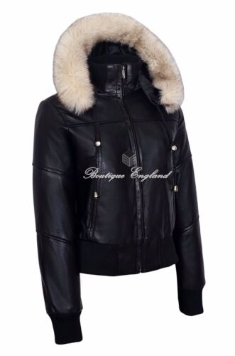 New Ladies Black Fur Hooded Leather Jacket Short Bomber Motorcycle Style 1992