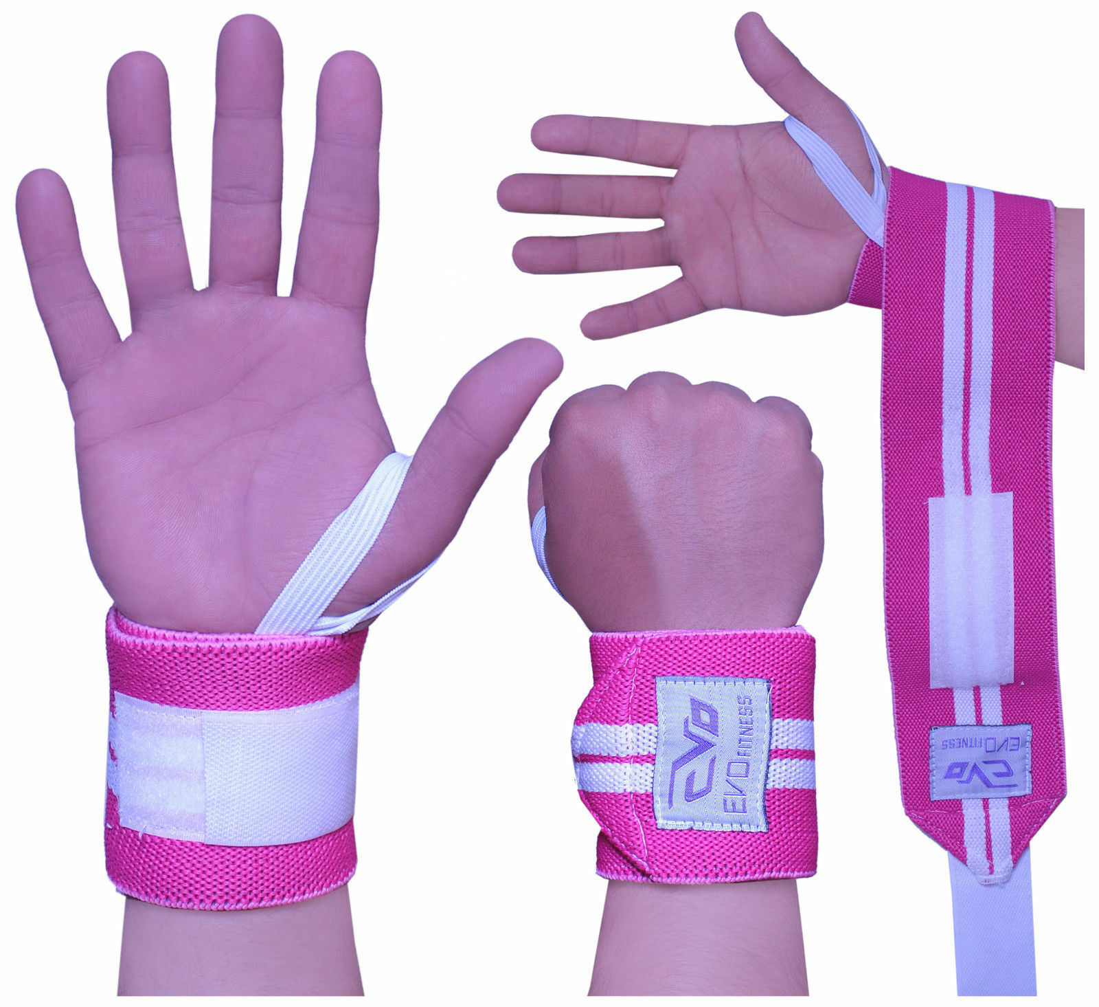 "ISLERO Ladies Pink 18/"" Weightlifting wrist Support Wraps Elasticated Gym Straps"