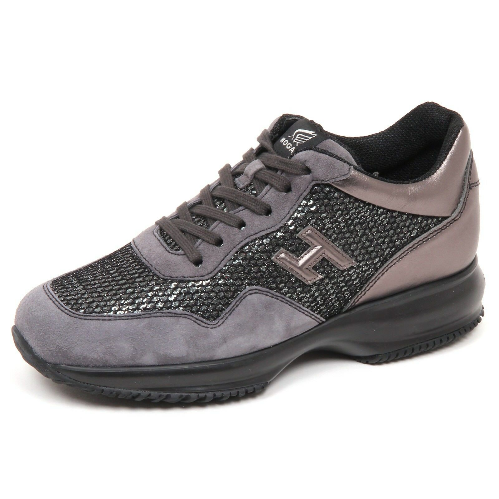 E4552 sneaker donna grey HOGAN INTERACTIVE shoe scarpe H 3D paillettes shoe INTERACTIVE woman a45643