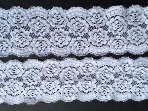 """Laverslace qualité rose blanche stretch dentelle 2.75/""""//7cm Couture Artisanat Mariage"""