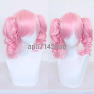 Maruyama Aya Pink Curly Hair Ponytail 30CM Full Wigs Anime Cosplay BanG Dream