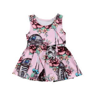 Toddler-Kid-Baby-Girl-Cartoon-Star-Wars-Party-Tutu-Dress-Skirt-Outfit-Clothes