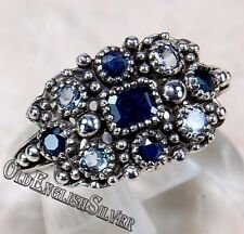 1CT Blue Sapphire 925 Solid Sterling Silver Victorian Style Ring Sz 7
