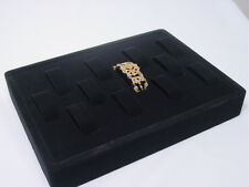 New 12 Parts Black Velvet Bracelet Watch Display Case 12l X 9 W Tray Rt2b1