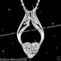Crystal Heart Chain Necklace Love Xmas Birthday Gift For Her Girl Mum Wife Women
