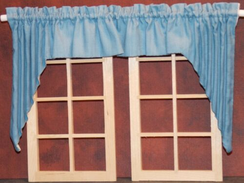 Dollhouse Miniature Curtains Swag Colonial Blue 1:12 scale G66 Dollys Gallery