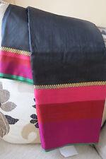 Black Tussar Silk Pink Border Saree with Blouse Piece