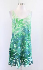 CAbi-Castaway-Blue-Green-Palm-Floral-Print-Tropical-Slip-Dress-Size-S-5235