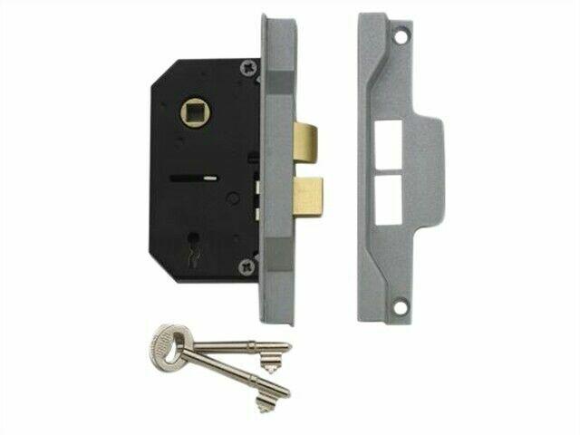 Union 2242 Silver//Grey Face 2 Lever Rebated Mortice Sash Lock 64mm Case Depth